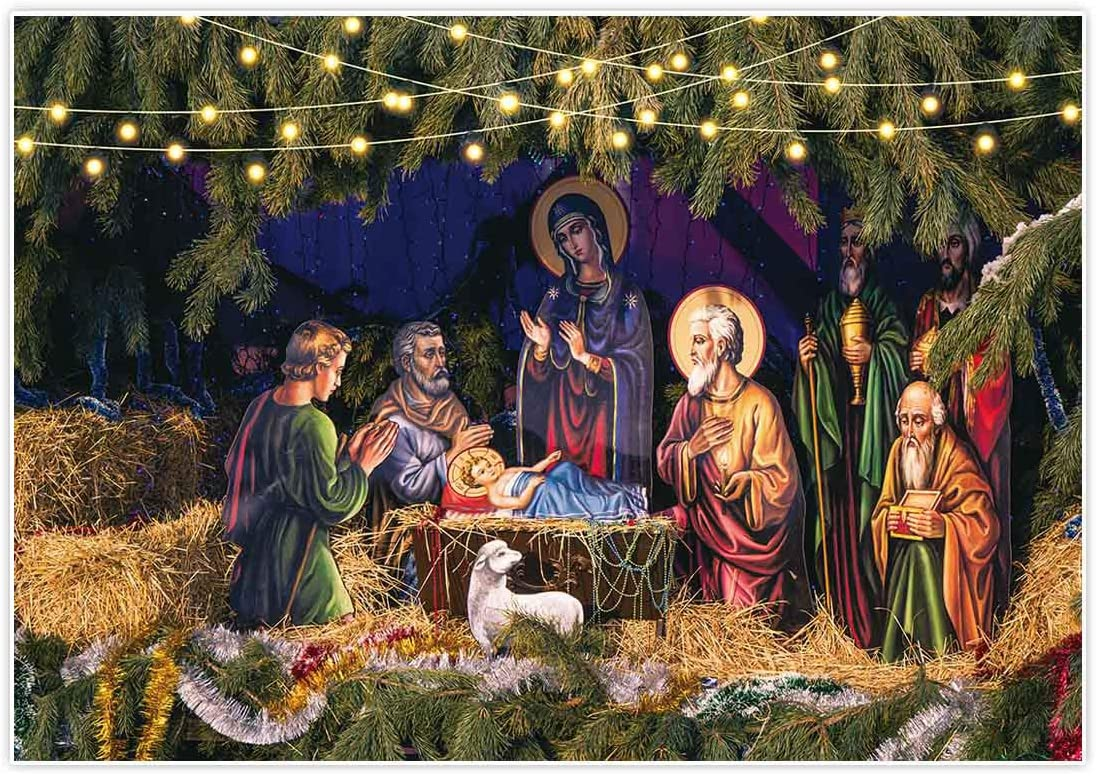 Allenjoy 7x5ft Birth of Jesus Backdrop Nativity Scene Photography Background Christmas Party Supplies Manger Decorations Baby Shower Newborn Photo Booth Props Studio Photoshoot