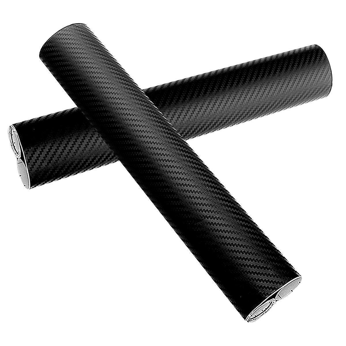 Audew Carbon Fiber Vinyl Wrap Car Film Sticker Decal Wrapping 3D Black Sheet Roll DIY 130x30cm 2 Pcs AUDEWXKd8Zmakl