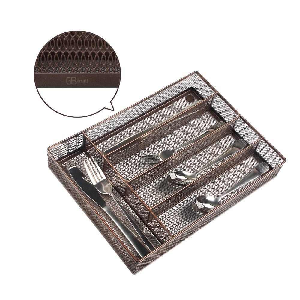 5つのコンパートメント スチールメッシュキッチンカトラリートレイ 銀食器ストレージ 滑り止めフォームフット付き キッチン整理/銀食器収納 ブラウン B07KSYFZLB コーヒー