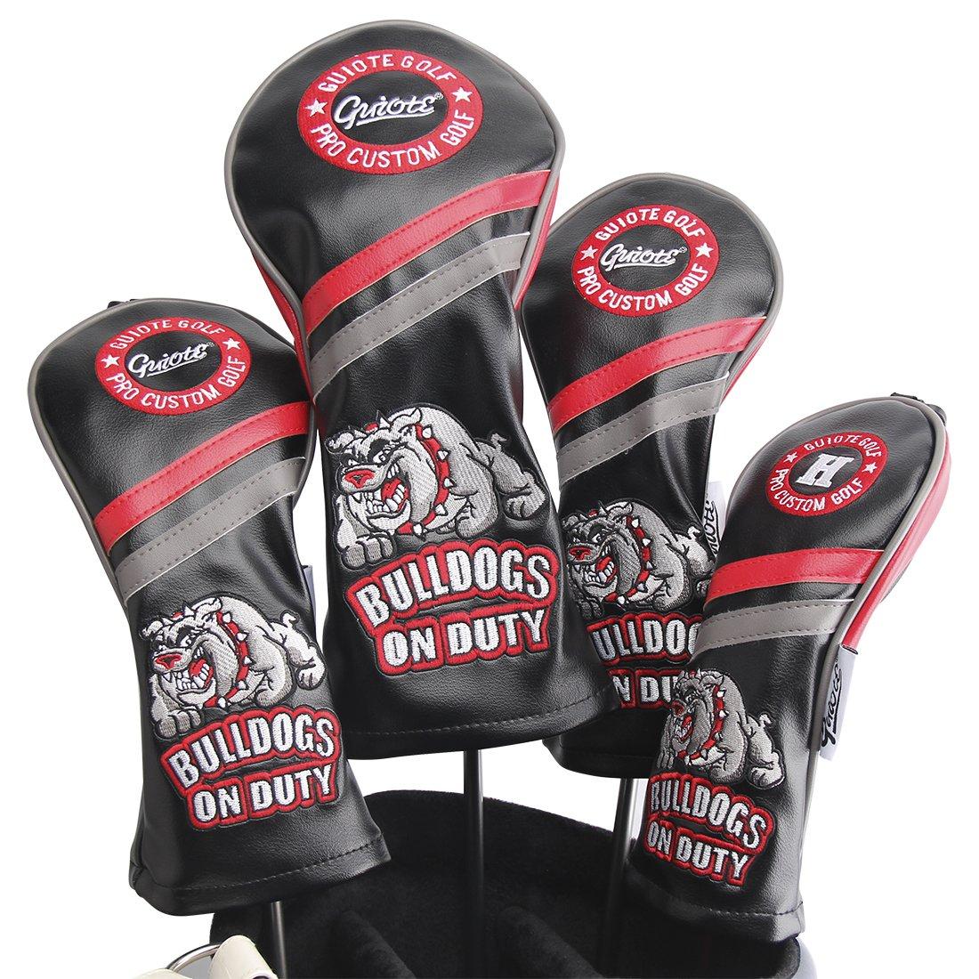 Guiote ゴルフヘッドカバー Golf head covers クラブヘッドカバー ウッドカバー ドライバー 新デザイン 交換可能な番号タグ付き(#2.#3.#4.#5.X) 4個セット B076NP9WJL Bulldogs-Black Bulldogs-Black