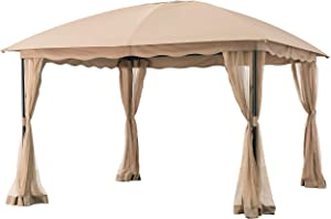 AmazonBasics Outdoor Patio Garden Dome Top Gazebo with Mosquito Net - Beige and Khaki