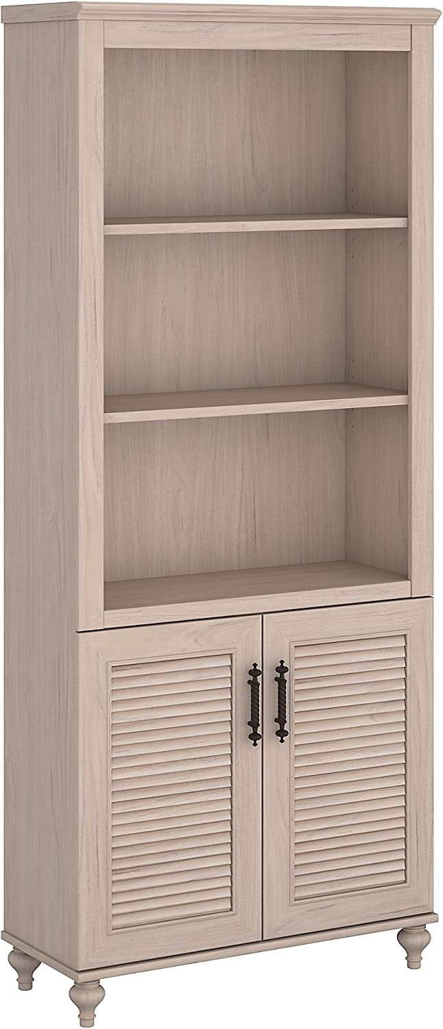 kathy ireland Home by Bush Furniture Volcano Dusk Bookcase with Doors in  Driftwood Dreams