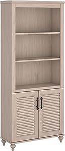 Bush Furniture Kathy Ireland Home Volcano Dusk Bookcase with Doors, 3, Driftwood Dreams