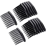 Gejoy 12 Pieces Plastic Teeth Hair Combs Tortoise Side Comb Hair Accessories for Fine Hair (Black)