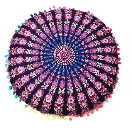 Indexp Round Pillowcase Indian Bohemian Cushions Mandala Floor ...