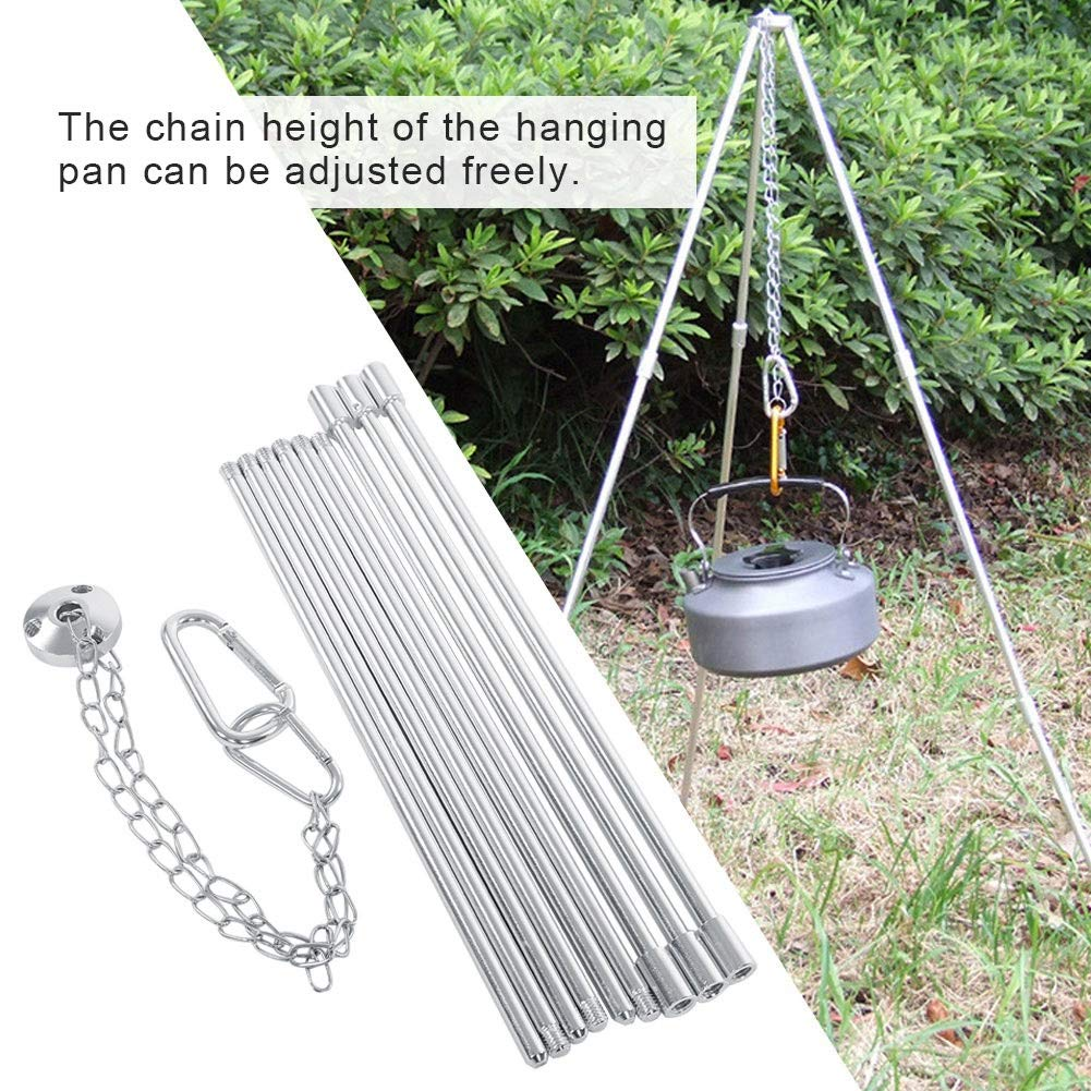 Garosa Hiking Tripod Grill Portable Camp Stand Hanger Outdoor Recreation Cooking Triangle Pot for Camping Picnic Cookware