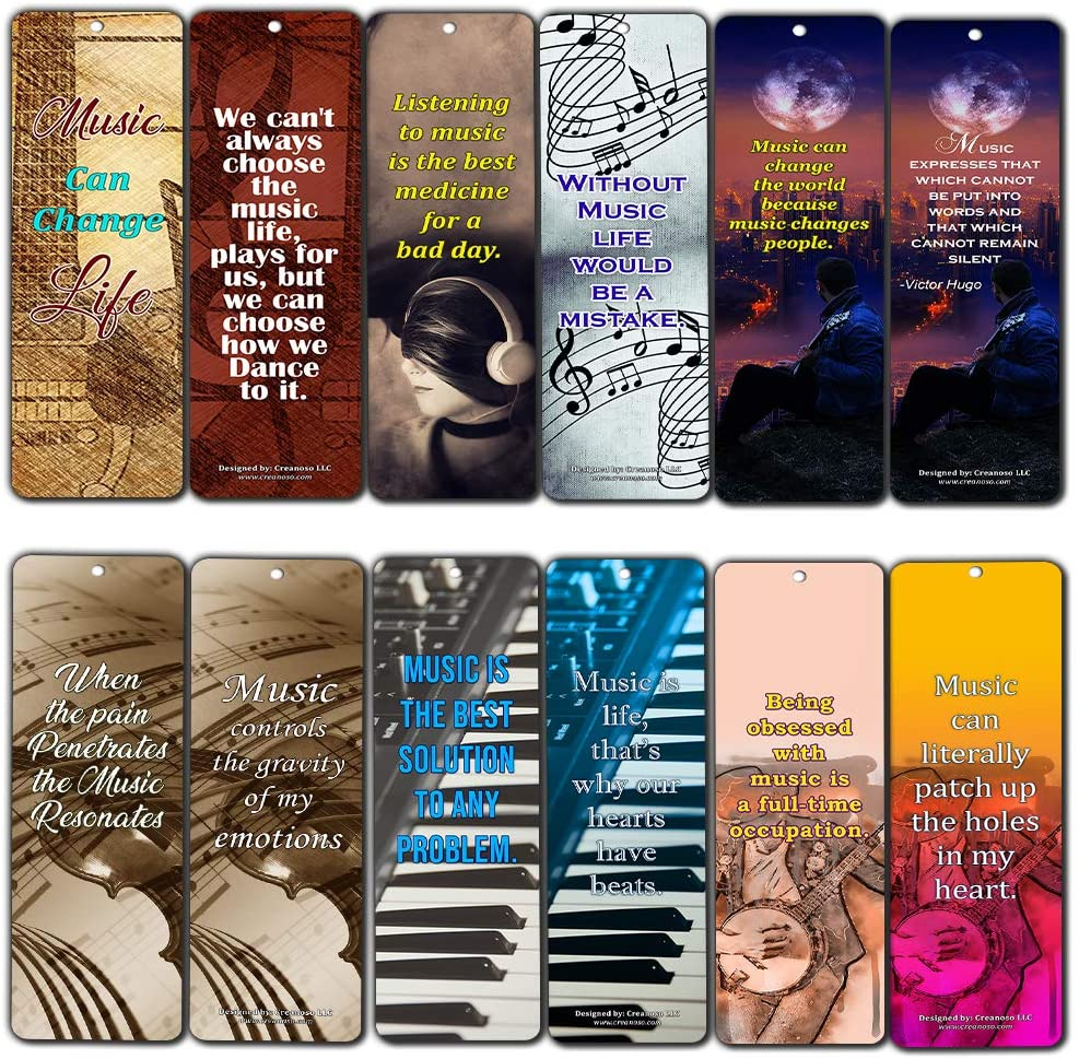 Creanoso Music Can Change Life Bookmarks for Musicians (12-Pack) – Premium Gift Set – Inspiring Word Sayings Quotes for Music Lovers, Guitarists, Pianists, Adult Men & Women – Broadway Musical Gifts