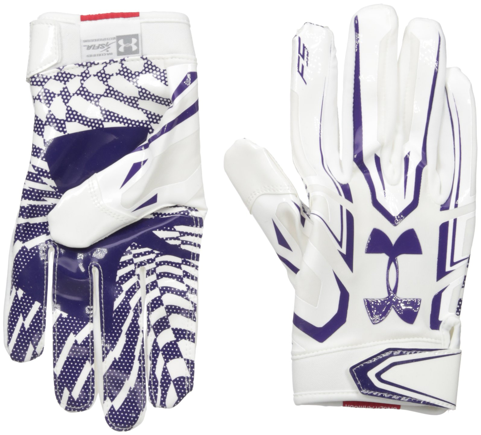 Under Armour Mens F5 Football Gloves, White/Purple, Small by Under Armour (Image #1)