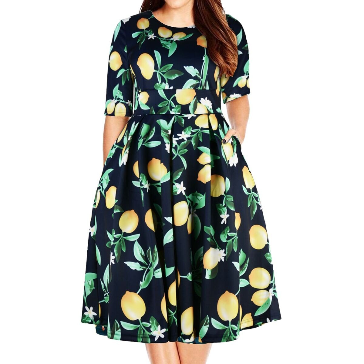 Samtree Women's Plus Size Floral 3/4 Sleeve Backless Cocktail Party Swing Dress(UK 20(US 16 Plus),Blue)