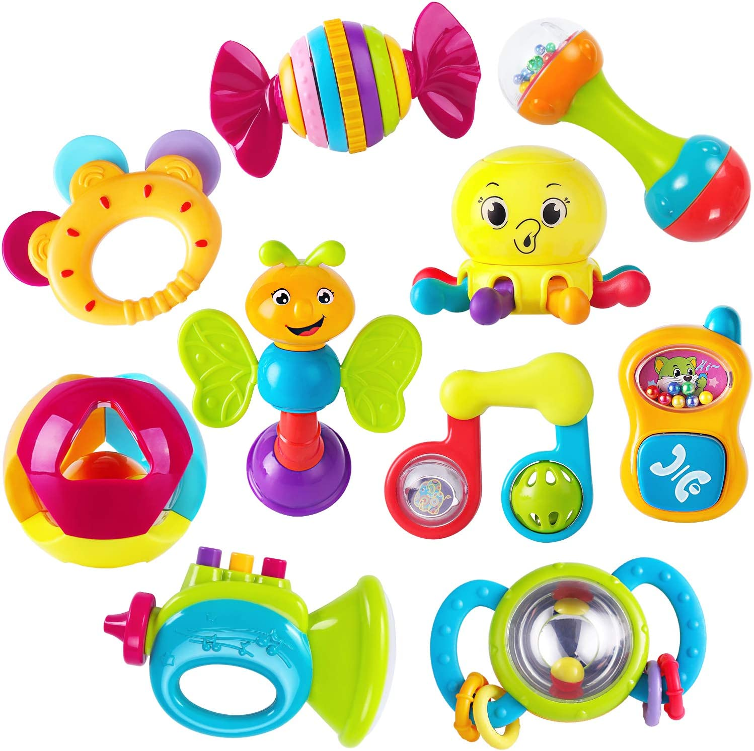 Amazon Com Iplay Ilearn 10pcs Baby Rattles Teether Shaker Grab And Spin Rattle Musical Toy Set Early Educational Toys For 3 6 9 12 Month Baby Infant Newborn Toys Games