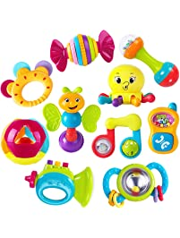 iPlay, iLearn 10pcs Baby Rattles Teether, Shaker, Grab and Spin Rattle, Musical Toy Set, Early Educational Toys for 3, 6...
