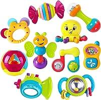 iPlay, iLearn 10 件嬰兒搖鈴牙膠,搖鈴,抓握和旋轉搖鈴,音樂玩具套裝,幼兒教育玩具,适合 3、6、9、12 個月嬰兒,新生兒