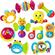 iPlay, iLearn 10pcs Baby Rattles Teether, Shaker, Grab and Spin Rattle, Musical Toy, Unique Gift Set, Early Educational Toys for 3, 6, 9, 12 Month Baby Infant, Newborn