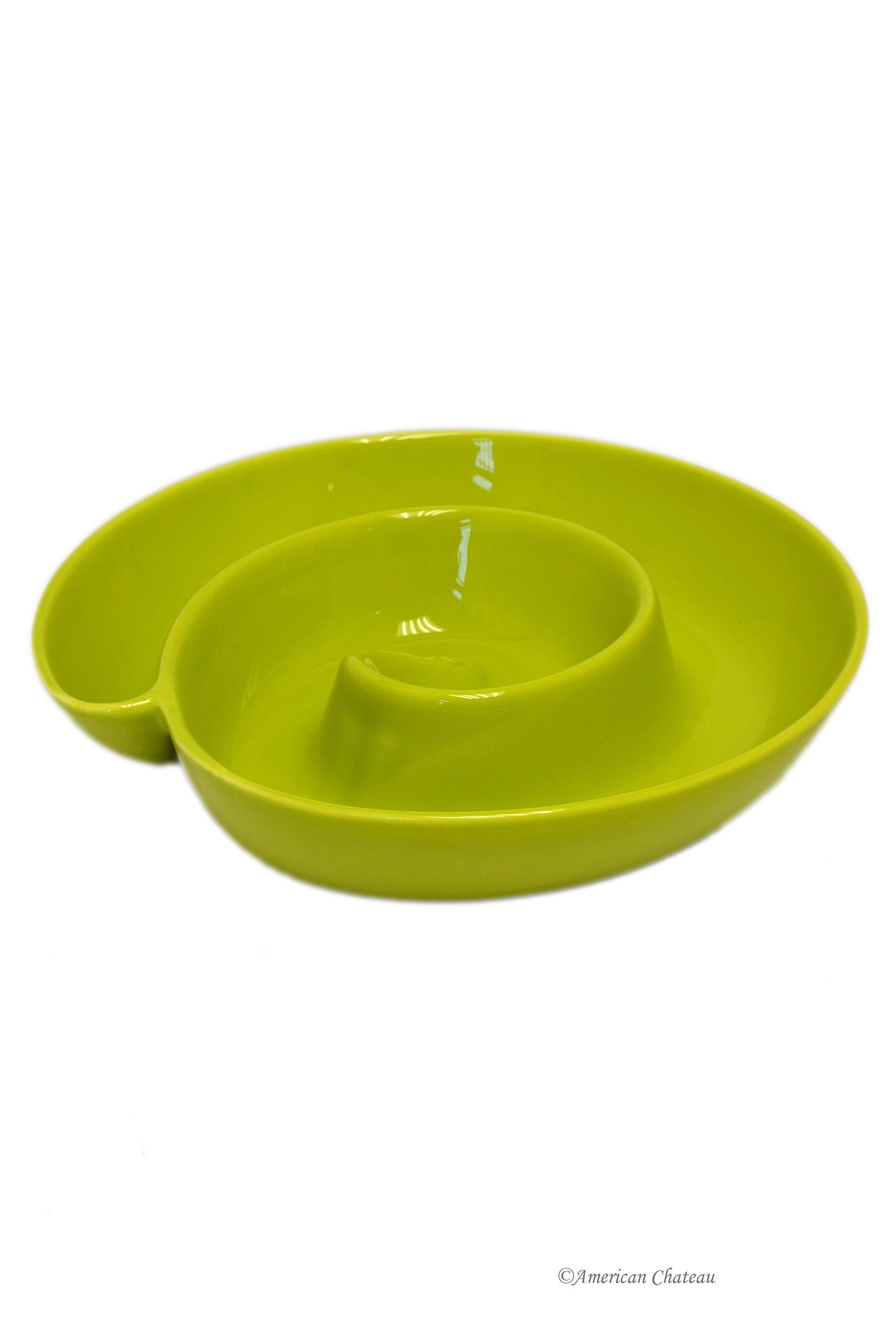 10'' Large Green Ceramic Round Swirl Appetizer Hummus Plate Platter Dish
