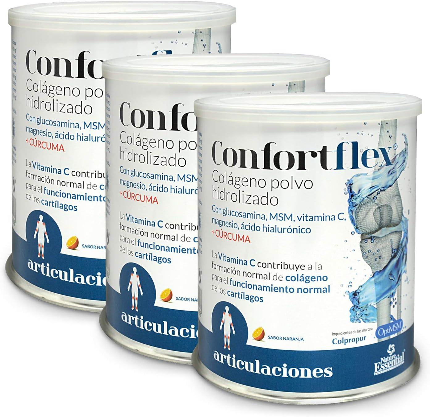 Confortflex® colágeno polvo hidrolizado con magnesio, glucosamina, MSM, silicio, vitamina C, zinc, ácido hialurónico, vit. B-3, vit. B-5, vit. B-6 y cúrcuma – 390 gramos, 30 días. (Pack 3 unid.): Amazon.es: Salud