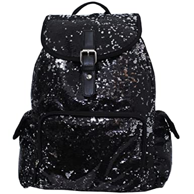 f75f5ddcee Glittery Sequin Drawstring Cheer Yoga Dance Girly School Backpack Bookbag  (Black)