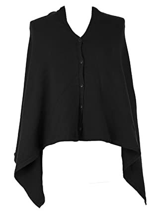 bd36cdf5e88 Ladies Lagenlook Italian Plain Knitted Multiple Button Multiway 5 in 1 Knit  Poncho Wrap Cardigan Shawl Shrug Scarf Snood One Size Plus Size 8-18 Black   ...