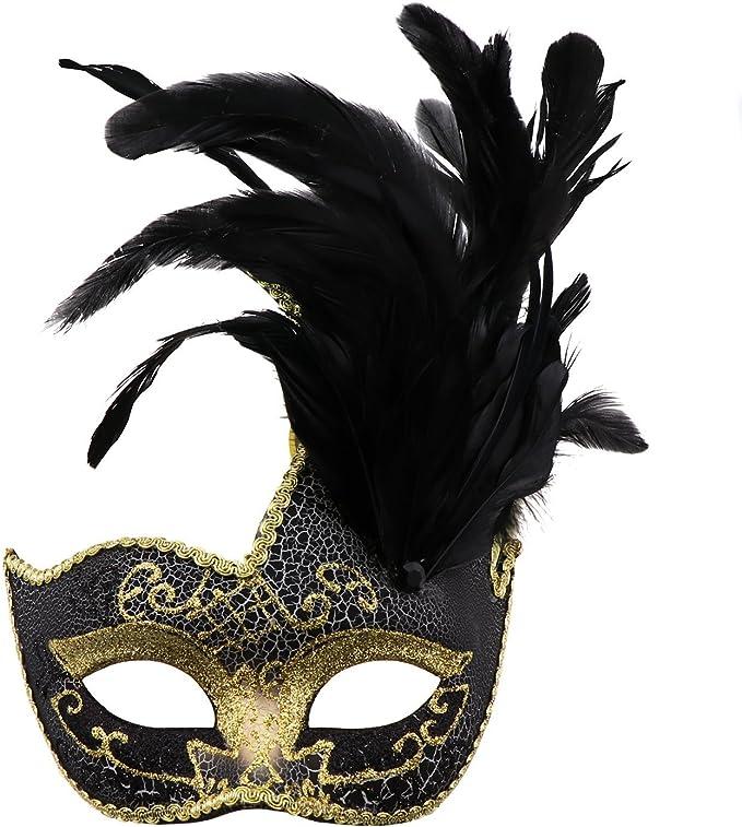 Amazon.com: Mascarilla de plumas, disfraz veneciano para ...