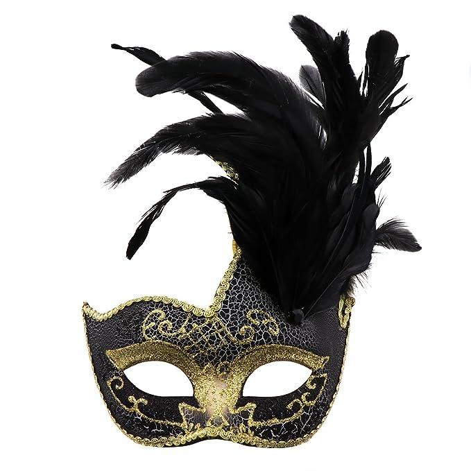 Amazon.com: Feather Masquerade Mask,Venetian Costume Christmas Party Mask.(Black):  Clothing