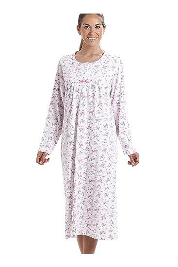 d40d3f8d972ae Chemise de Nuit en Coton Manches Longues Style Classique imprimé Floral  Blanc/Rose 48/50: Amazon.fr: Vêtements et accessoires