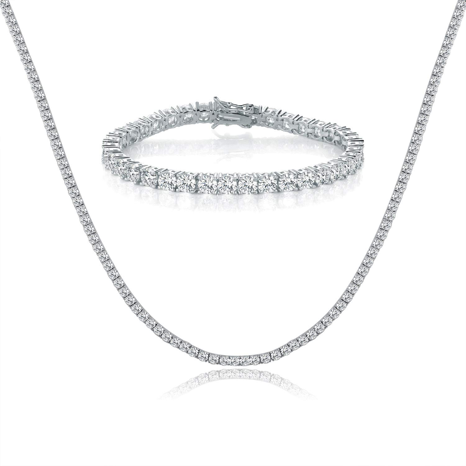MDFUN 18K White Gold Plated 4.00 Round Cubic Zirconia Created Tennis Bracelet and Necklace Sets for Women