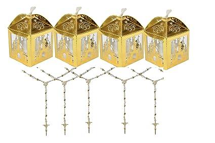 Amazon.com: Caja de regalo para fiesta de oro y rosario ...