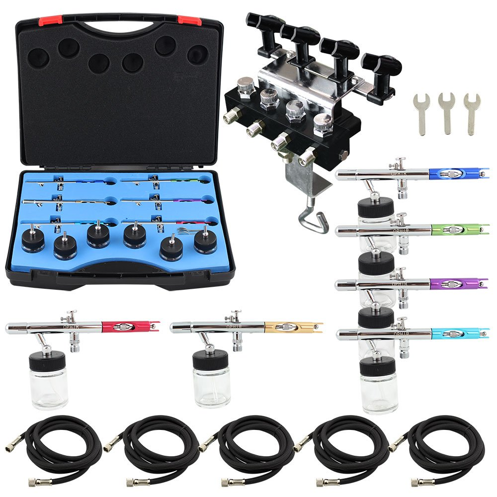 OPHIR 6PCS Different Color 0.35mm Dual Action Airbrush Guns Set Kit with 4-Airbrush Holders Set for Model Painting Body Painting