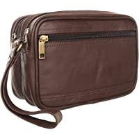 Sio™ Men's Genuine Leather Cash Pouch/Money Carrying Pouch/Multipurpose travel Pouch Leather Big Wrist Clutch Bags Business Handbag Sling Bag,Document Carry Bag,Shop Bag, High-capacity