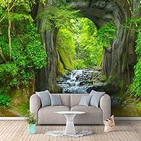 WPFZH 3D Mural Foto Murales de Papel Tapiz Verde Bosque Cueva Paisaje Sala de Estar Dormitorio Fondo Mural de Pared Papel Pintado no Tejido Decoración-150x105cm