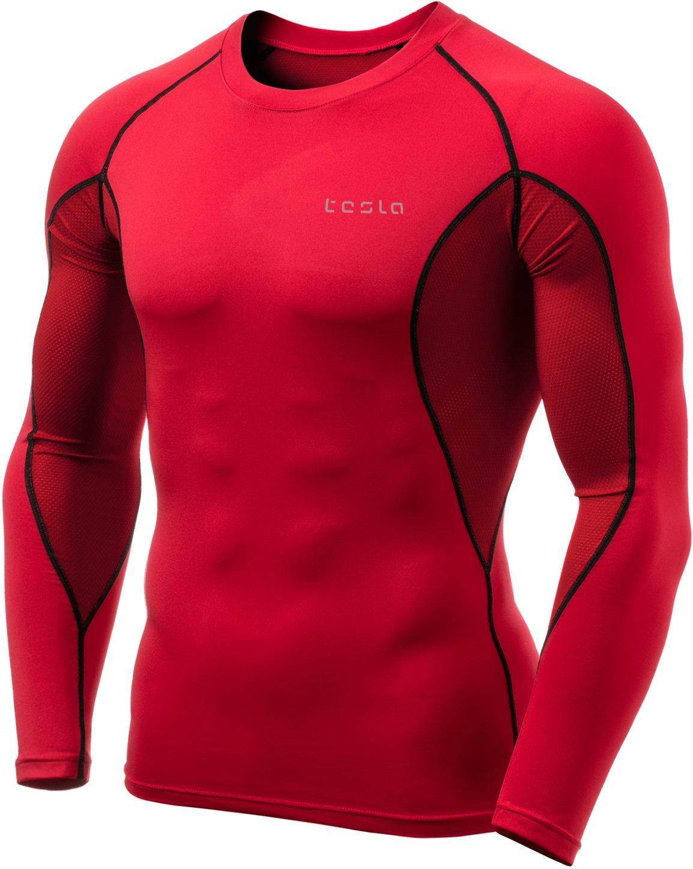 (テスラ)TESLA オールシーズン 長袖 ラウンドネック スポーツシャツ [UVカット吸汗速乾] コンプレッションウェア パワーストレッチ アンダーウェア R11 / MUD01 / MUD11 B07F6RKSWV Small|Z457-TM-MUD71-RDK Z457-TM-MUD71-RDK Small