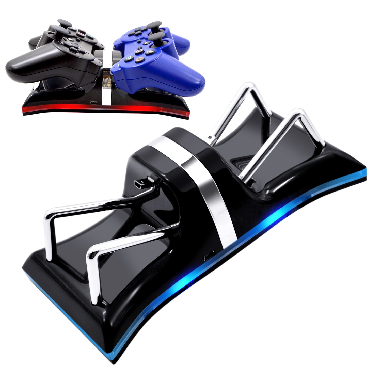 AZFUNN PS3 Controller Charging Station, Dual Charging Dock Stand with Surrounded LED Indication Lights for Sony PlayStation PS3 Controller, Black by AZFUNN (Image #1)