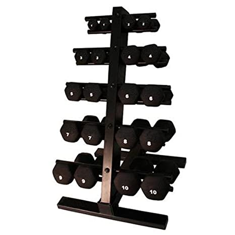harvil 10-Pair Juego de mancuernas de neopreno con doble cara vertical acero mancuerna Rack
