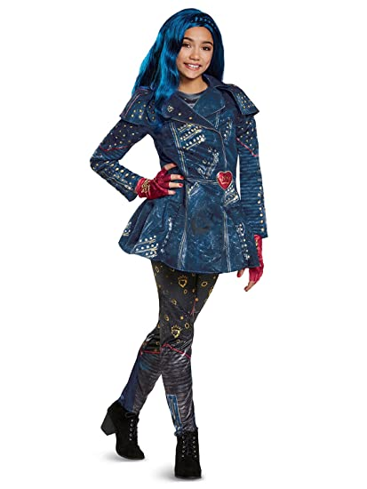 Disguise Evie Deluxe Descendants 2 Costume, Blue, Large (10,12)