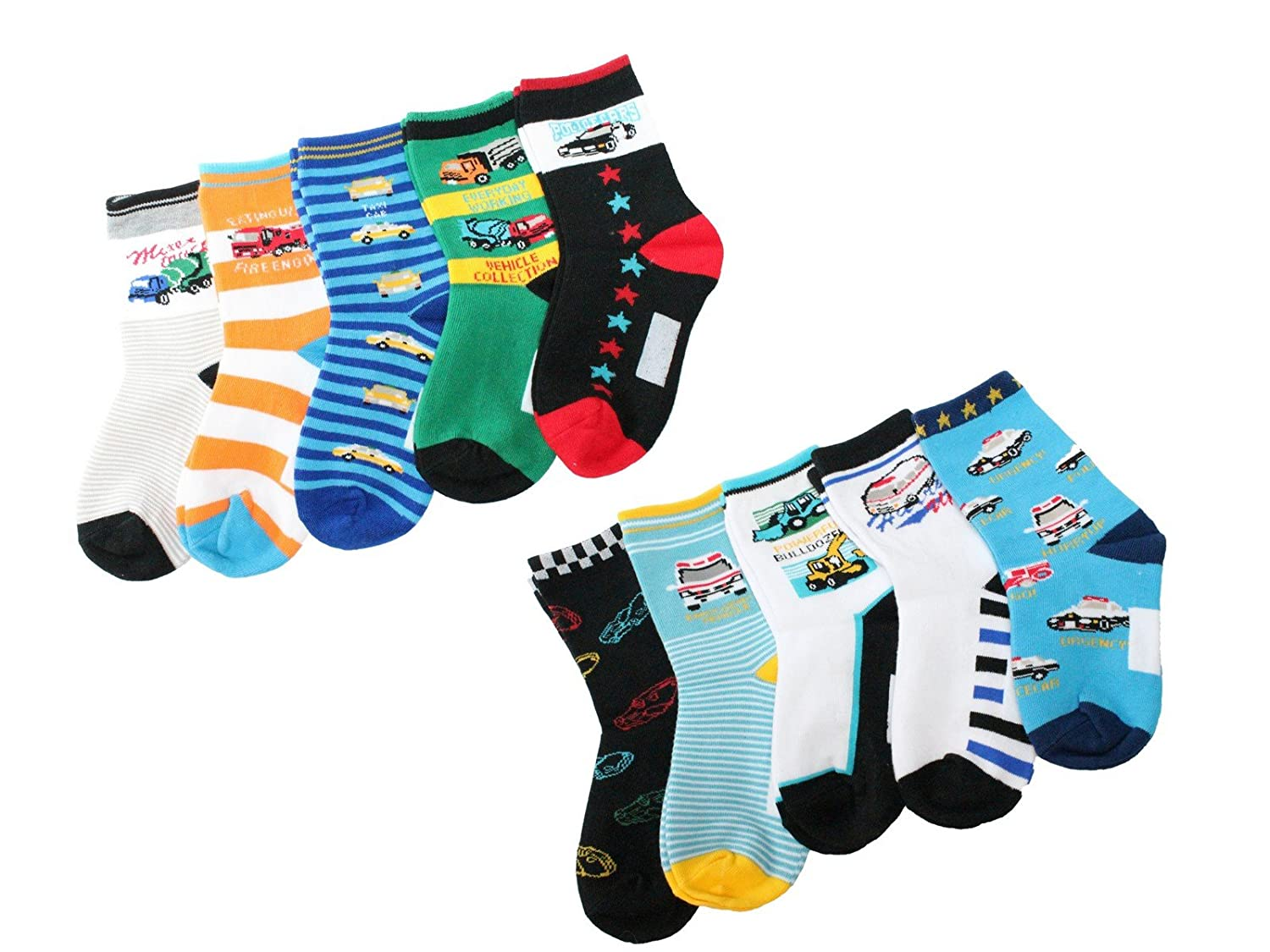 Colourful Baby World Big Boys' 10-Pack Socks Set E- Colourful Cars Transport