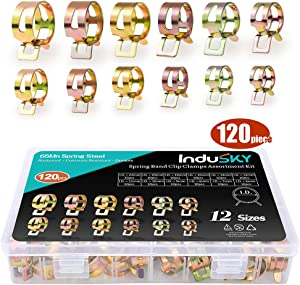 InduSKY 120Pcs 6-22mm Spring Band Type Clips Fuel Line Silicone Vacuum Hose Water Pipe Clamp Low Pressure Air Tube Clamps Fastener Assortment Kit 12 Sizes