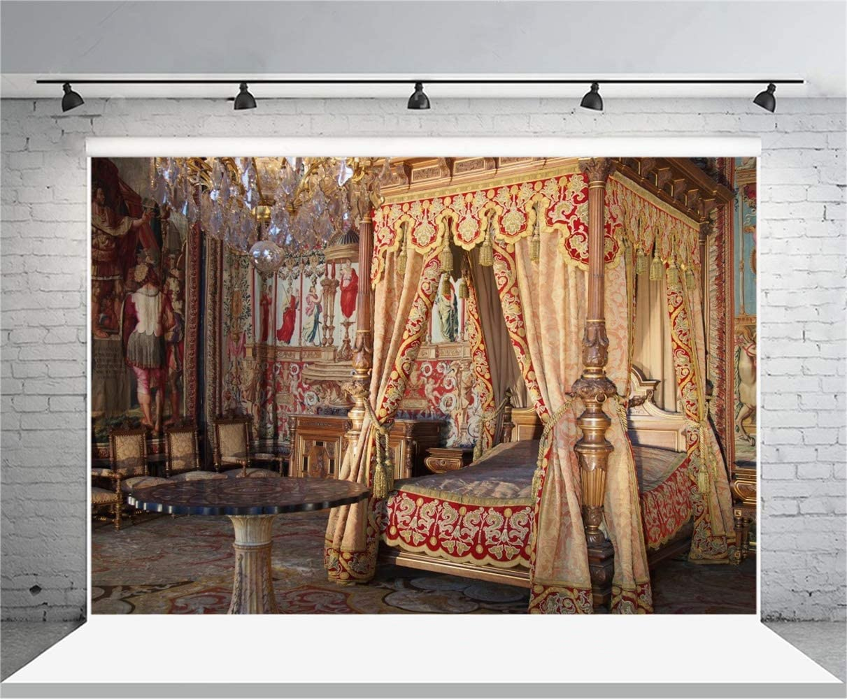 10x6.5ft Palace of Fontainebleau Bedroom Interior Polyester Photography Background Antique Bed Dedicate Wall Painting Vintage Furnitures Backdrop Classical Historical Architecture Inside Studio