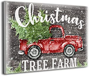 Song Art Canvas Wall Art Prints Red Vintage Truck Christmas Tree Farm Snow Farmhouse -Photo Paintings Contemporary Decorative Giclee Artwork Wall Decor-16x20 Inch Ready to Hang