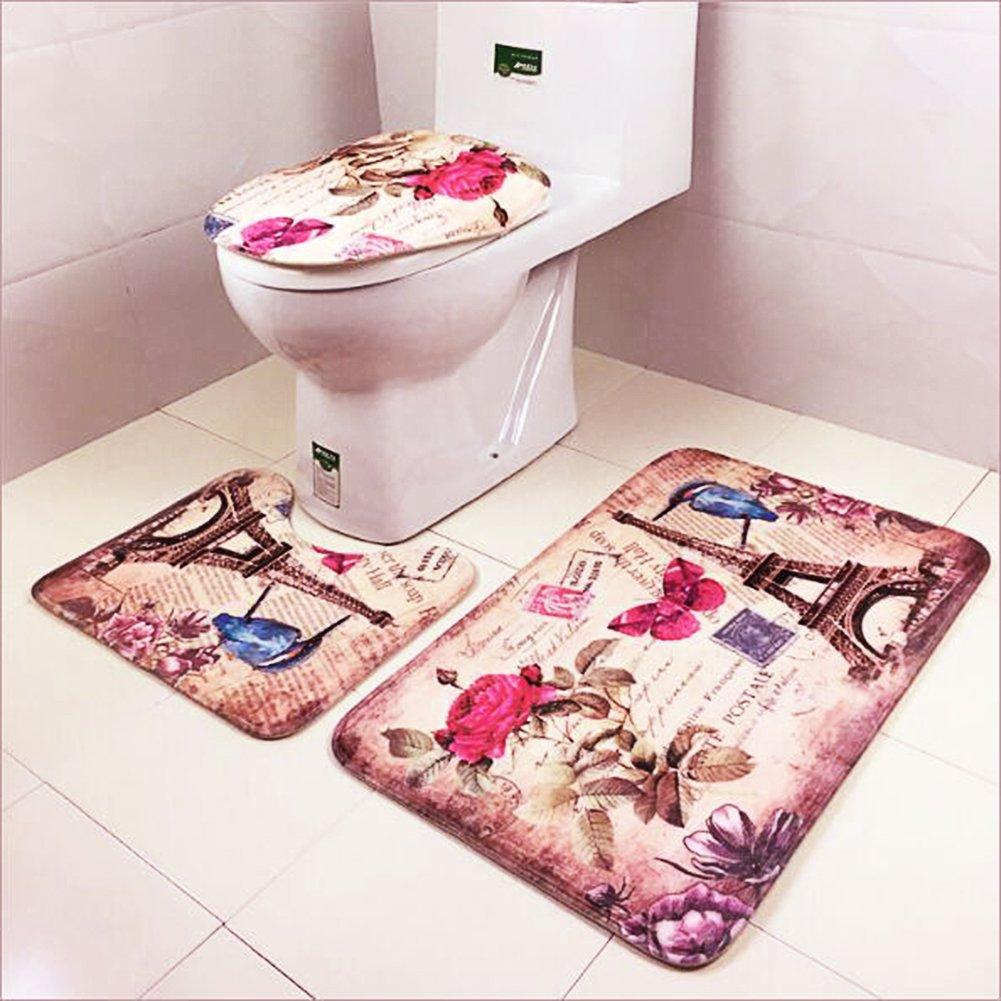 Jian ya na 3 pezzi bagno Tappeto Mat Set, Extra Soft antiscivolo Contour Rug Set con coperchio di copertura nero and bianca Tower