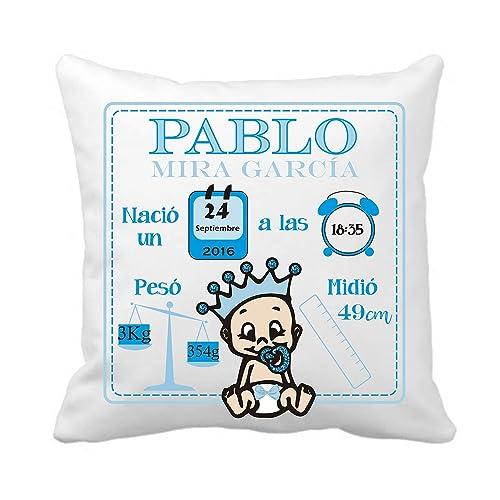 Cojín Natalicio - Datos Nacimiento Bebe - Regalo Original Recién Nacido - Personalizado/Incluye: Funda + Relleno - Tamaño 40x40 cm - Niño - Nene - ...