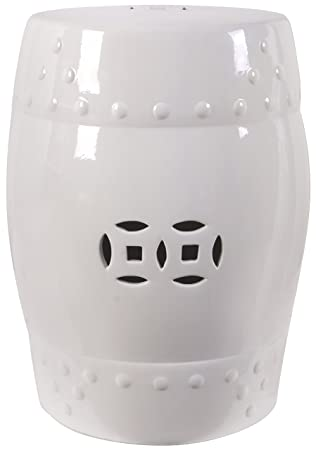 18u0026quot; Ceramic Garden Stool White
