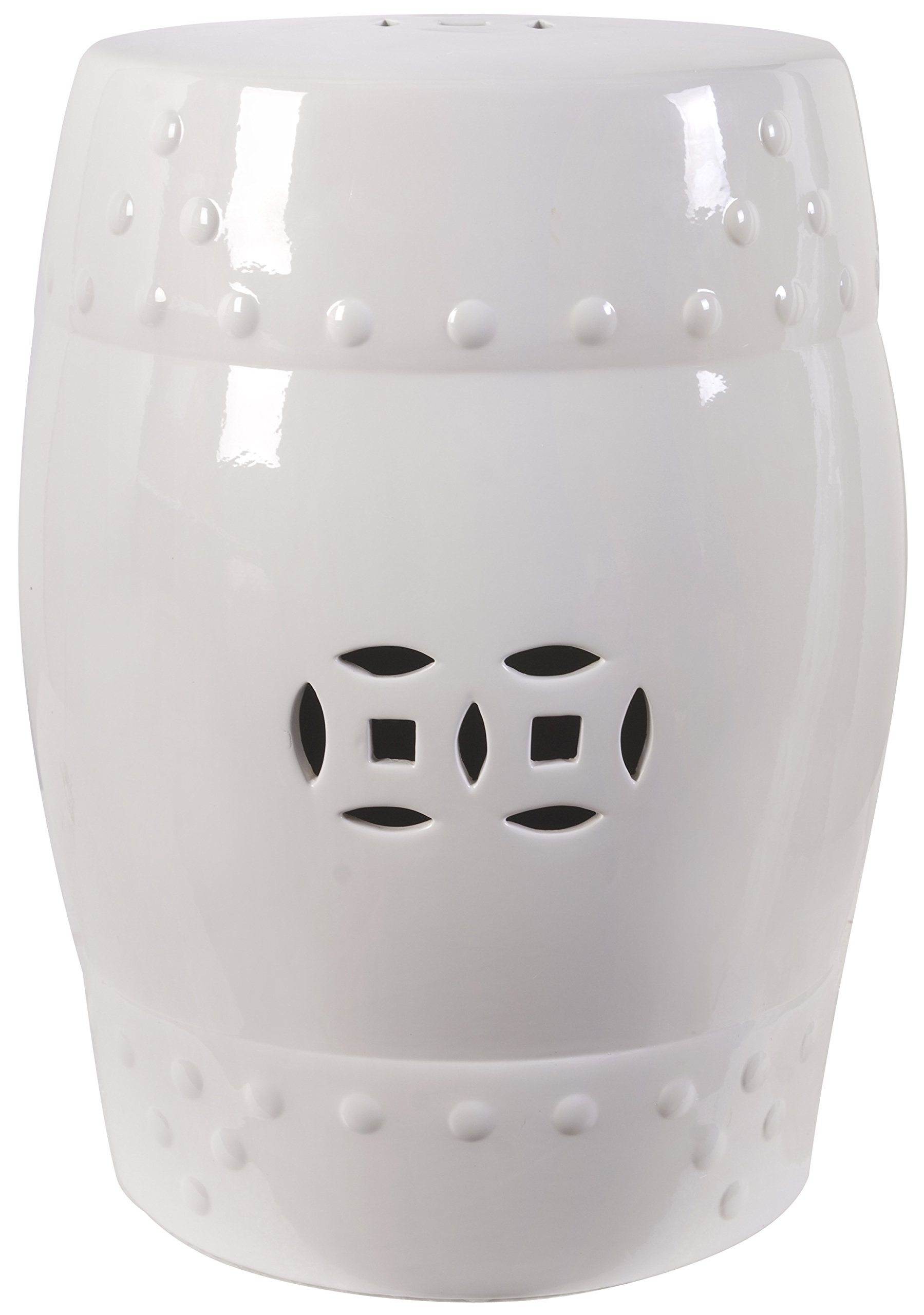 18'' Ceramic Garden Stool White