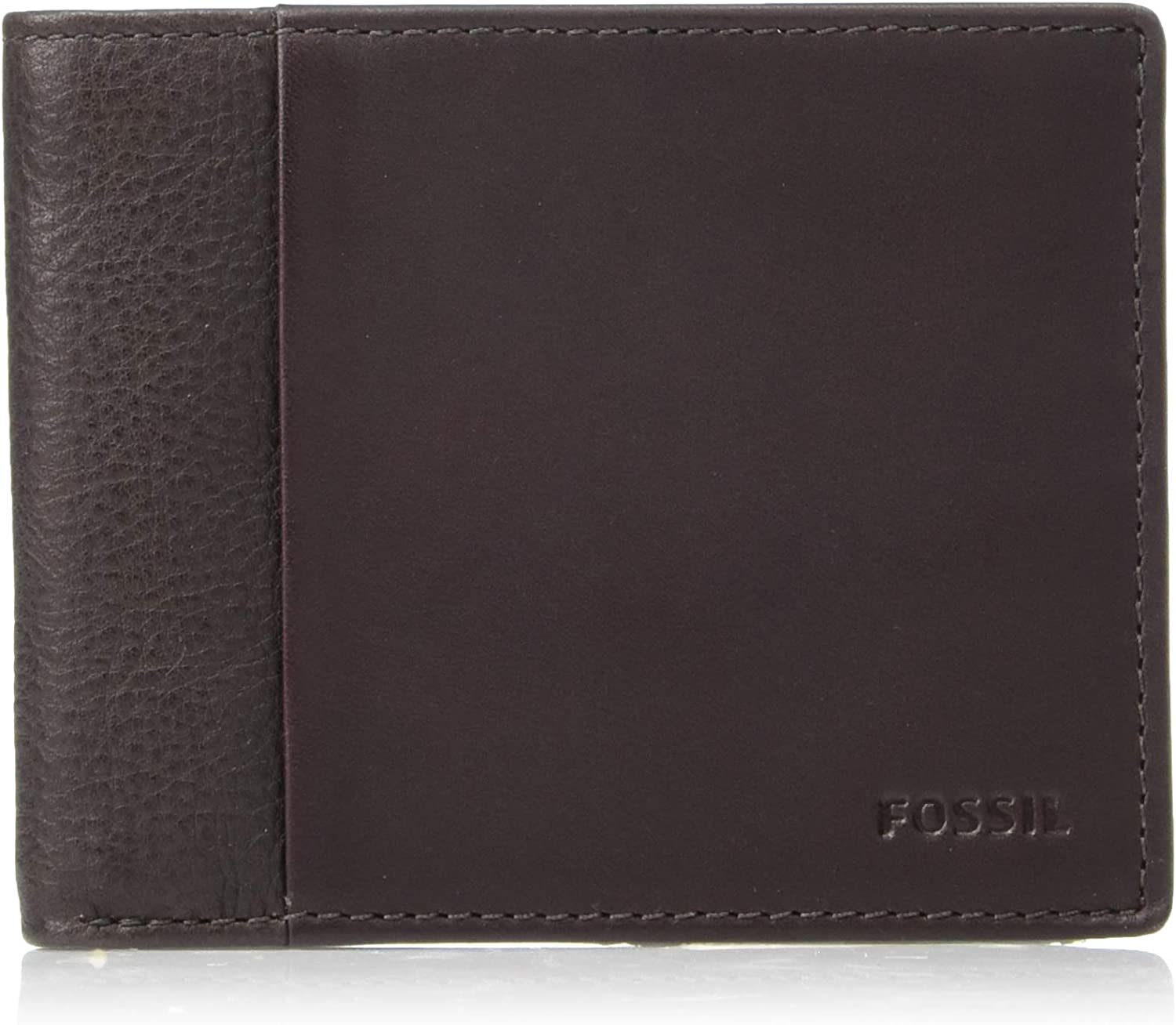 Fossil Mens Ward RFID Bifold with Flip ID  Dark Brown  4 5L x 0 75W x 3 5H