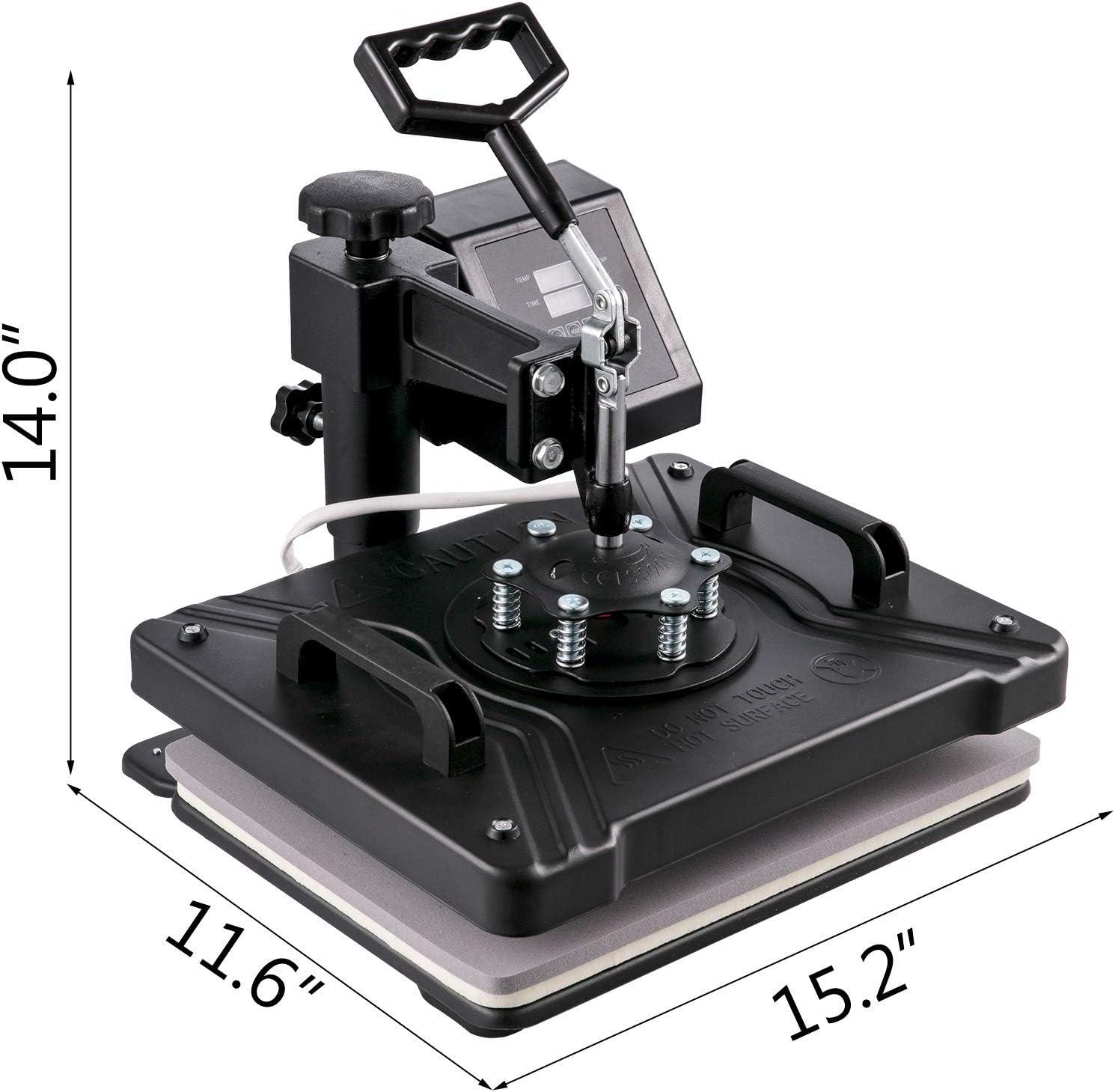 VEVOR 5 in 1 Transferpresse 38 x 29 cm Hei/ßpresse Maschine 1000 W T-Shirt Presse Maschine Hitzepresse Maschine DIY Heat Press mit Digitaler LED-Temperatur und Zeitcontroller mit Komplettes Zubeh/ör