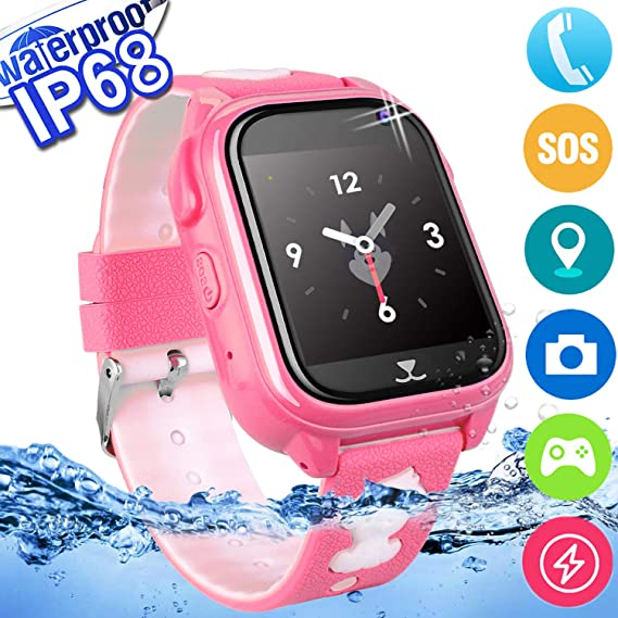 2019 Upgrades Waterproof Kids Phone Smart Watch GPS Tracker Smartwatch for Kids Boys Girls Game Watch with 1.4 Touch Screen SOS Camera Voice Chat ...