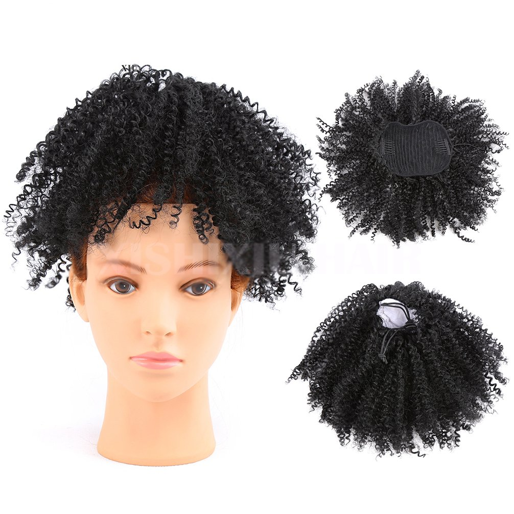 Afro Puff Synthetic Kinky Curly Drawstring Ponytails Extensions for African American Wrap Pony Tail Kinky Curly Hairpieces Afro Kinky Curly Ponytail Top Closure with Combs (Natural Black) LD HAIR