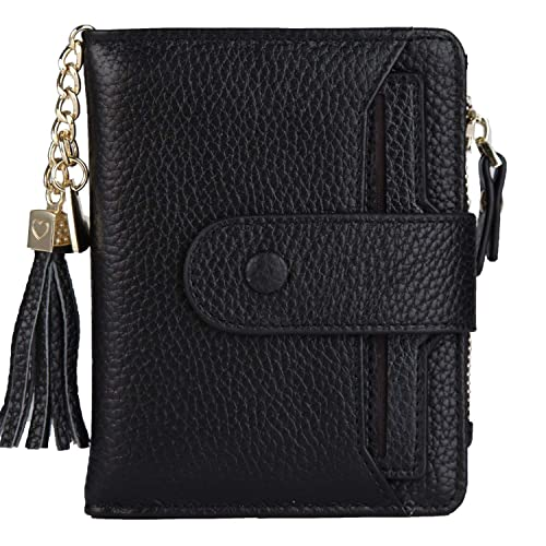 ba7b0cf130 Women s Mini Soft Leather Wallet with ID Window Card Sleeve Bifold Wallet  Coin Purse (black