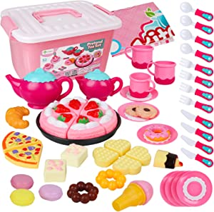 D-FantiX Tea Party Set for Little Girls, 52Pcs Kids Pretend Play Princess Tea Time Set for Toddlers Play Food Toy Afternoon Tea Playset Accessories, Plastic Teapots Teacups Cookies Cakes Donuts
