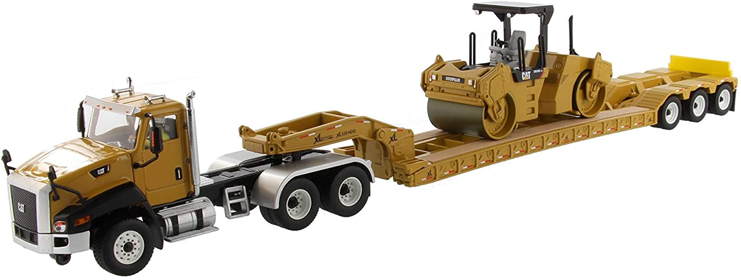 Cat Caterpillar CT660 Day Cab w/Lowboy Trailer & CB-534D XW Vibratory Asphalt Compactor Core Classics 2 pc Set 1/50 Models Diecast Masters 85601 C