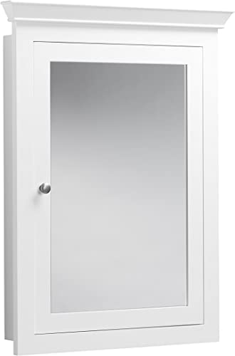 RONBOW Edward 27 x 34 Transitional Solid Wood Frame Bathroom Medicine Cabinet with 2 Mirrors and 2 Cabinet Shelves in White 617026-W01