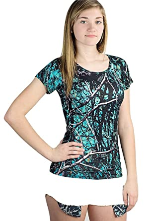 e1c63750778dcc Muddy Girl Camo Short Sleeve Womens Western T Shirt Top Turquoise Blue (S)